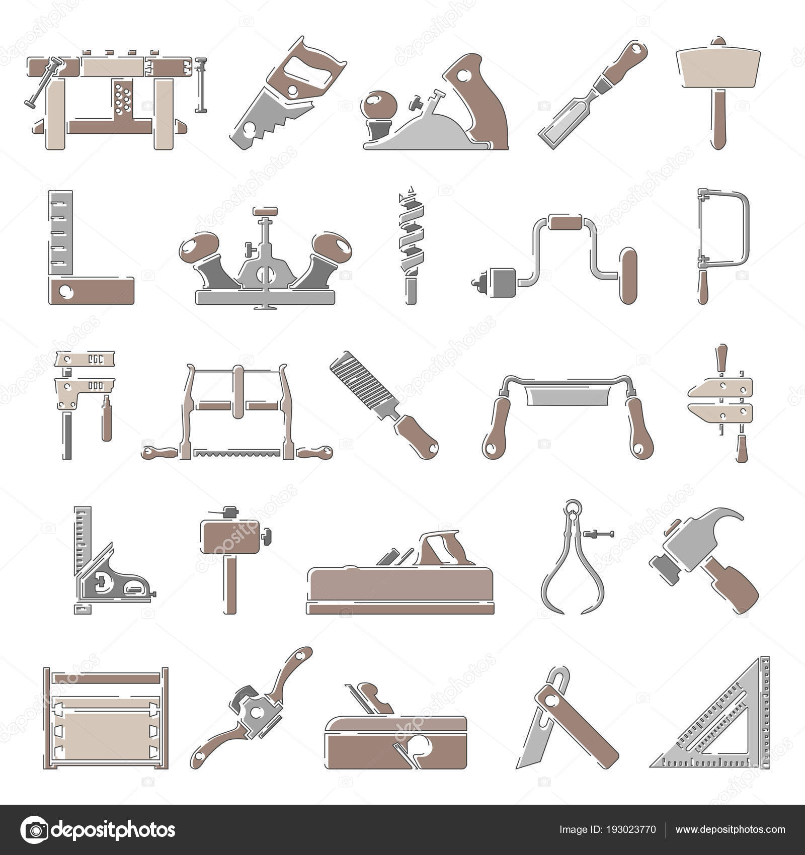 Outline Color Icons Traditional Woodworking Tools Stock Vector