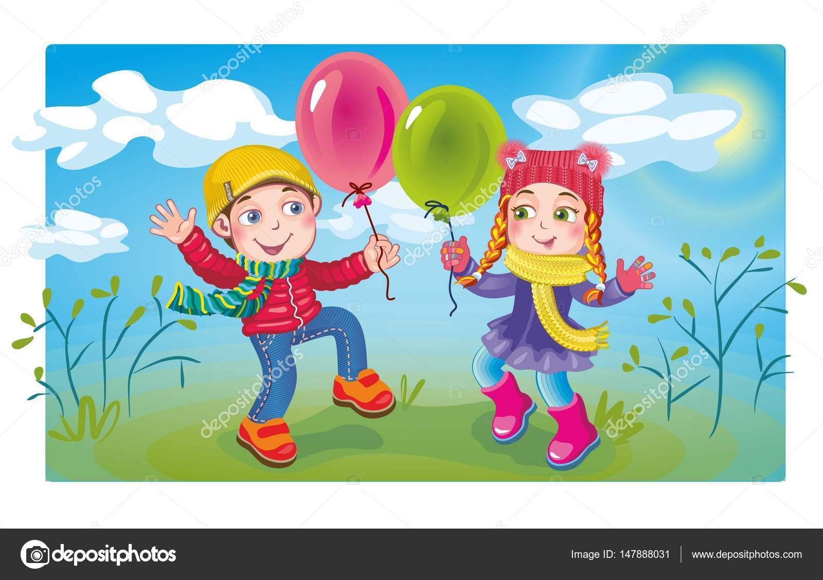 Primavera para niños con globos — Vector de stock © forestkaa #147888031