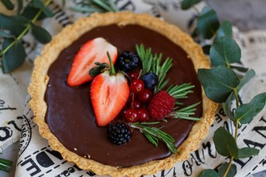 Sweet and tasty bakery. Tarts and cakes on the table