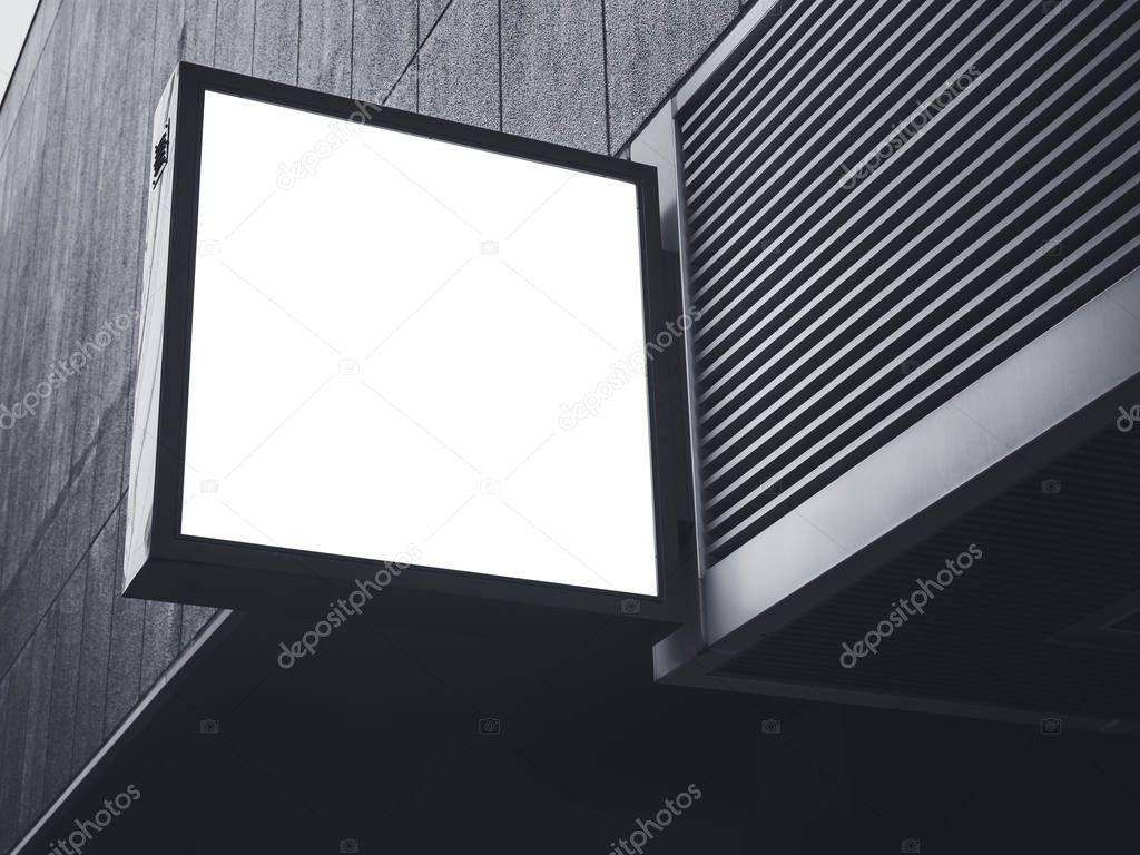 Schild-Shop Mock up-quadratische Form Display außen — Stockfoto ...
