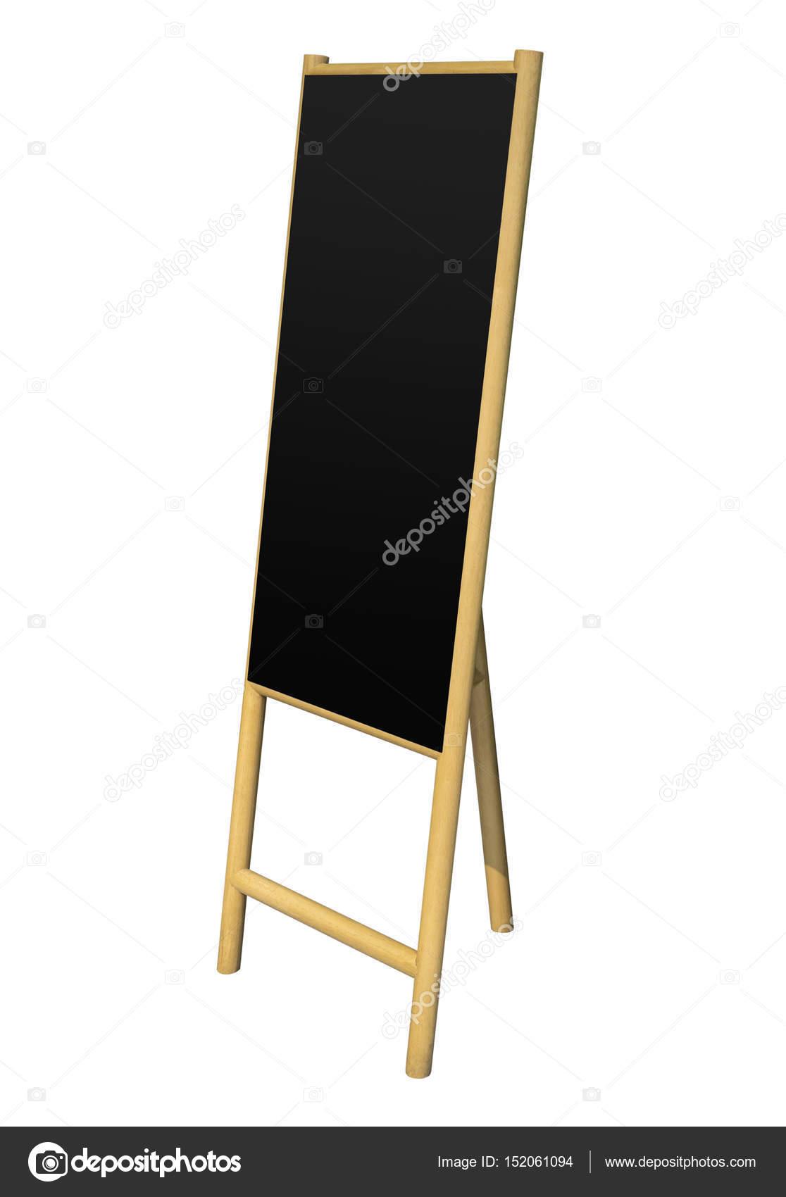Negro soporte caballete madera en blanco tablero aislado — Fotos de ...