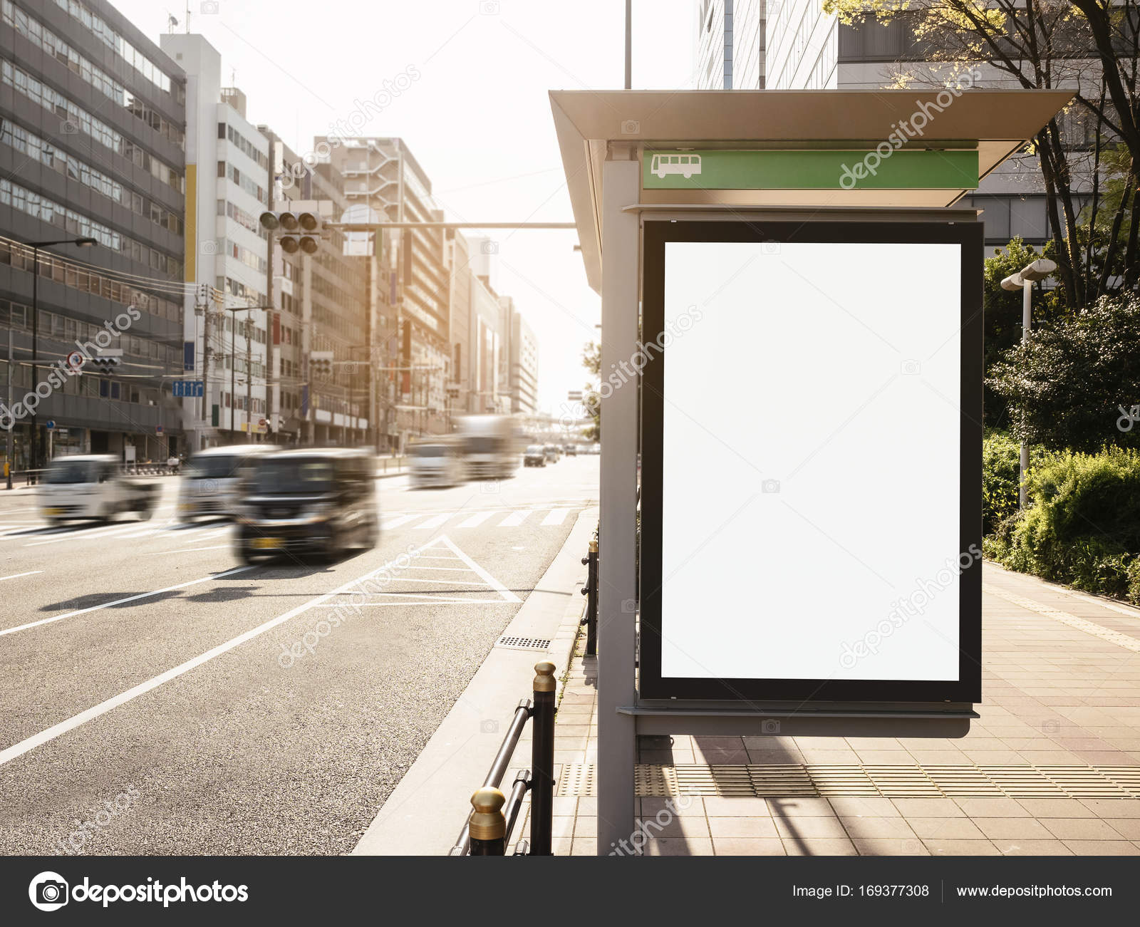 mock up banner template at bus shelter media outdoor display city