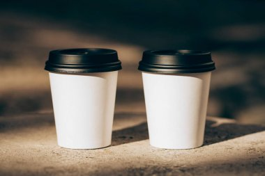 Two cups of coffee to go