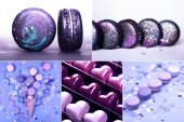 Photo Collage with Ultra Violet sweets, macarons and confetti. Five images in one.