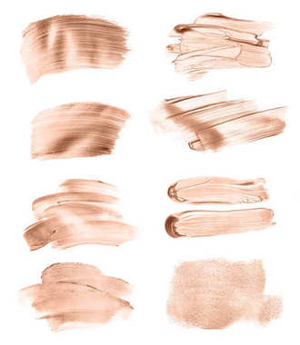 Set of liquid foundation strokes isolated on white background stock vector