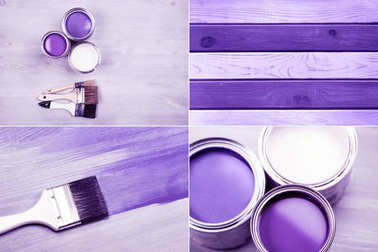 Ultra Violet collage with paint cans and colored brushes on white wooden background. House renovation concept.