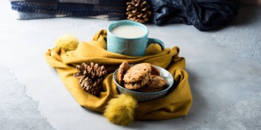 Cozy winter relax with tea and cookies. Banner