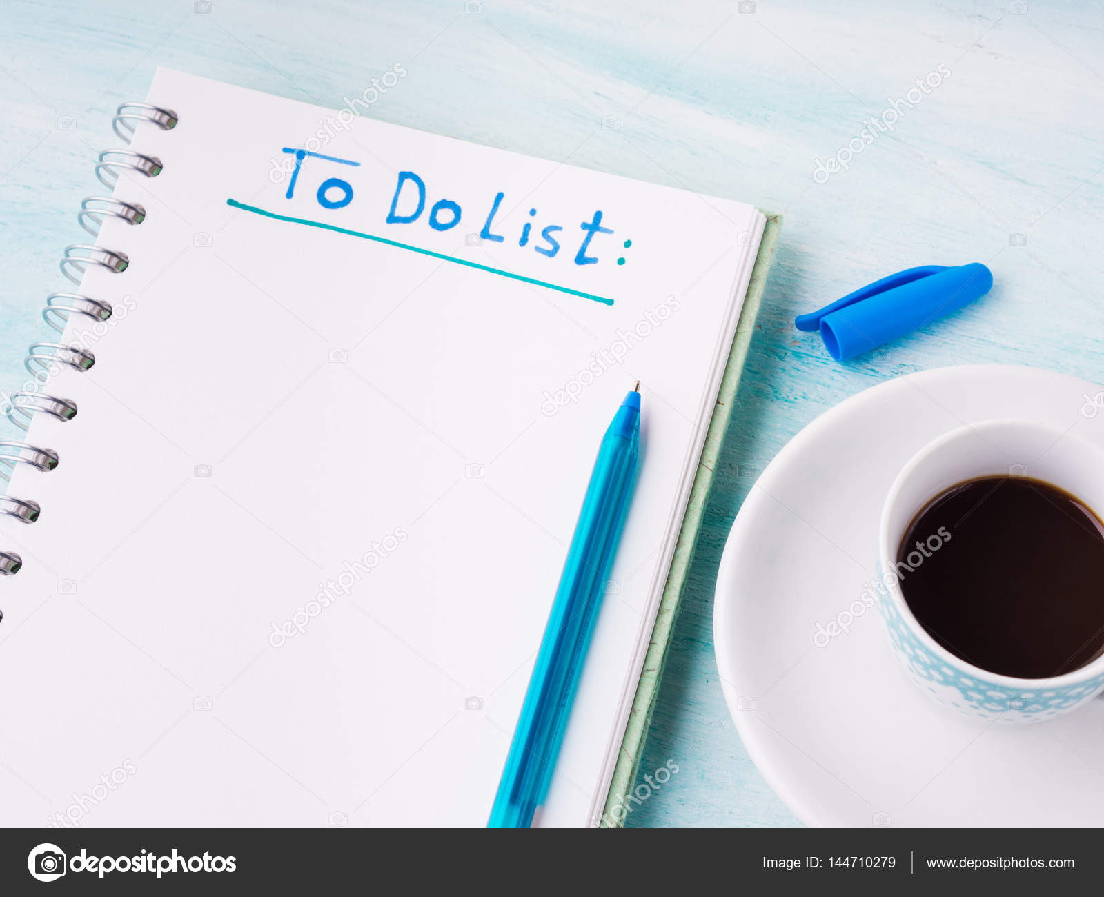 to do list page flat lay and cup of coffee background stock photo