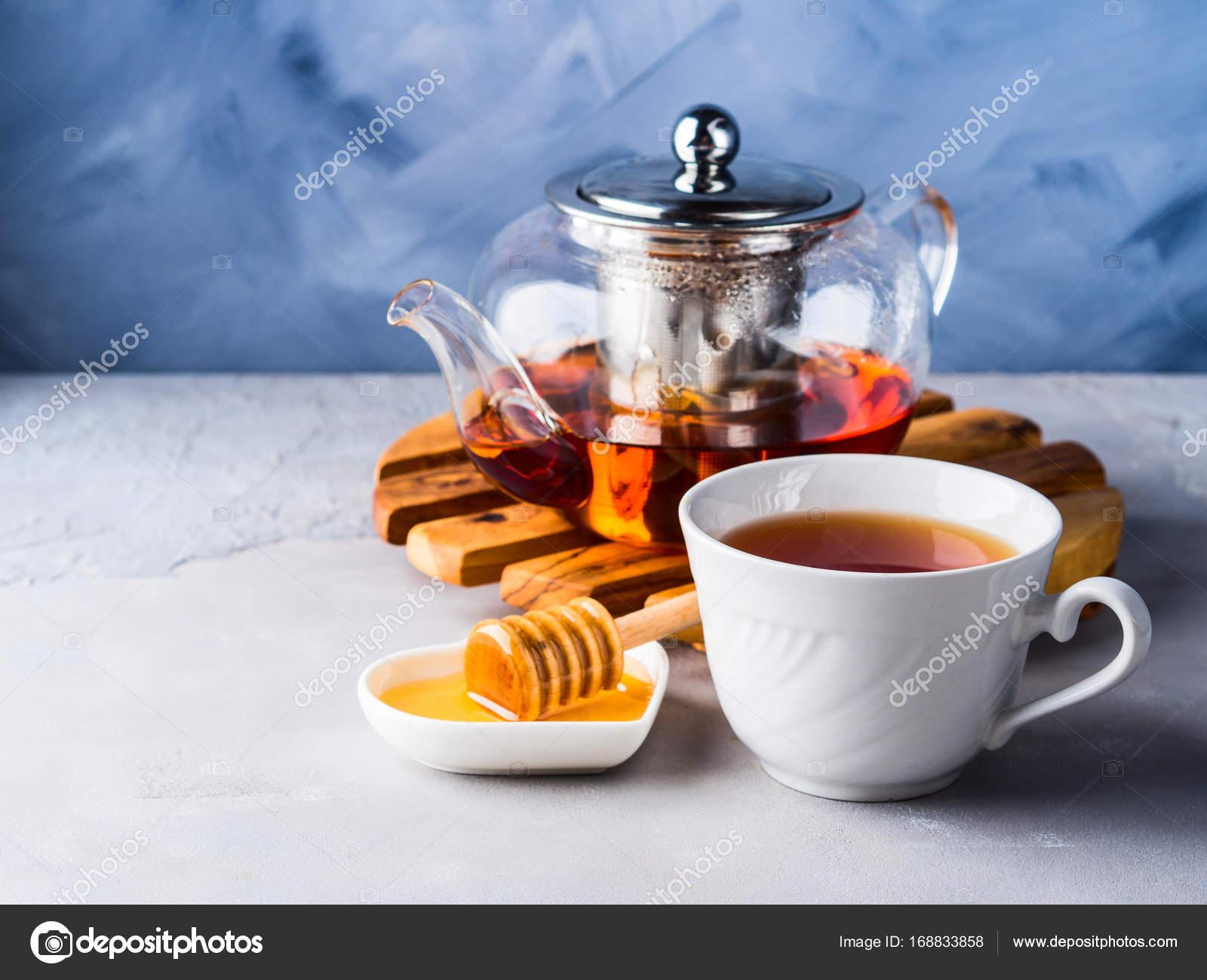 Teekanne Von Roter Tee Und Honig Stockfoto C Tenkende 168833858