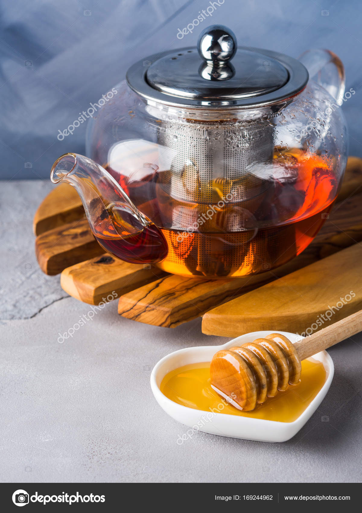 Teekanne Von Roter Tee Und Honig Stockfoto C Tenkende 169244962