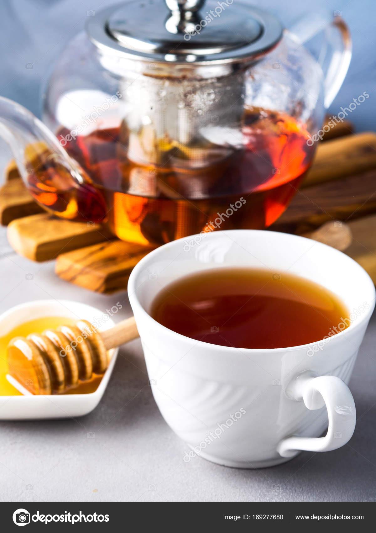 Teekanne Von Roter Tee Und Honig Stockfoto C Tenkende 169277680