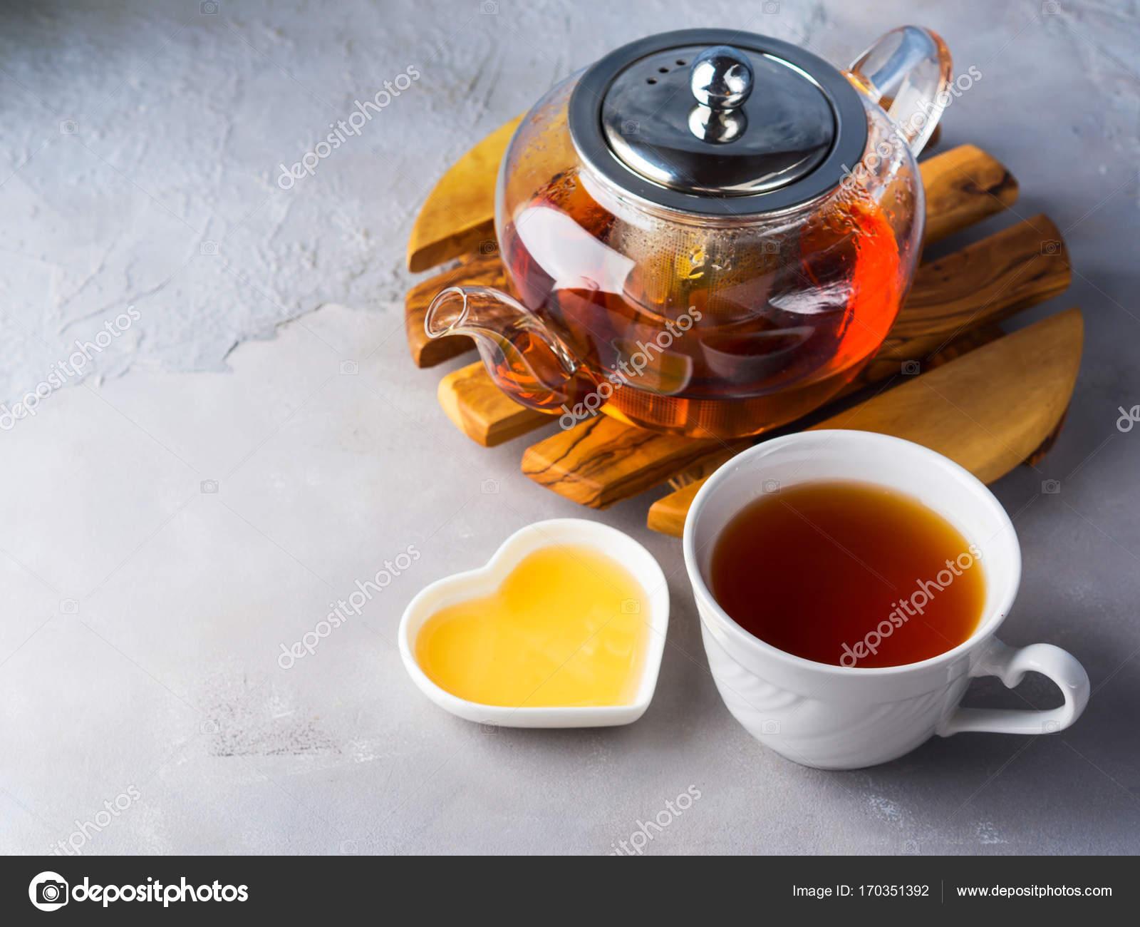 Teekanne Von Roter Tee Und Honig Stockfoto C Tenkende 170351392