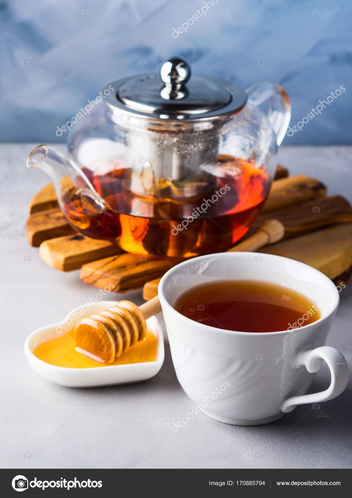 Teekanne Von Roter Tee Und Honig Stockfoto C Tenkende 170885794