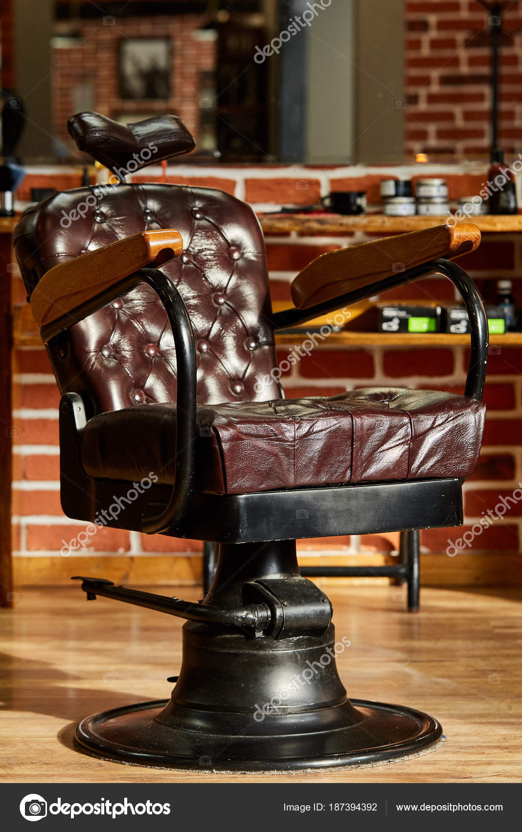 Barber Shop, Hairdresser Chairs Made From Brown Leather. Retro Leather Chair  Barber Shop In Vintage Style. Vintage Equipment. Male Beauty And Care.