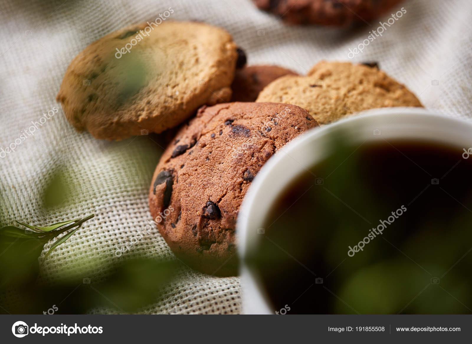 Breakfast Background With Mug Of Fresh Coffee Homemade Oatmeal Cookies Grind Coffee Stock Photo C Aleksey Rezin 191855508