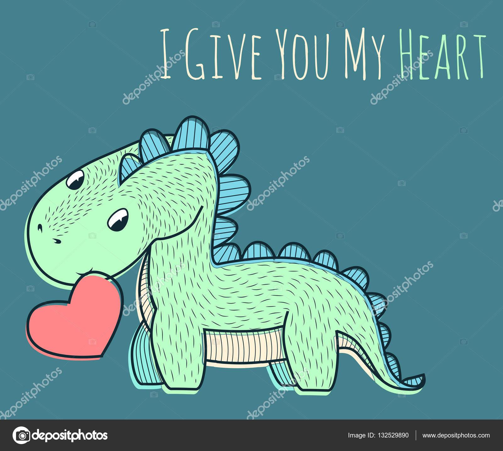 pequeño dinosaurio con corazón rojo — Vector de stock © Y.Verovski ...