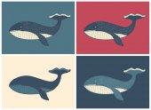 retro  whale illustration