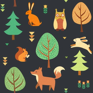 Cute seamless forest background stock vector