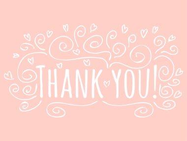 Thank You handwritten inscription. Hand drawn lettering clip art vector