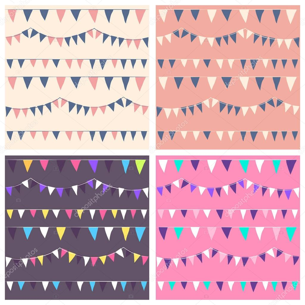 Seamless  patterns set with colorful flags