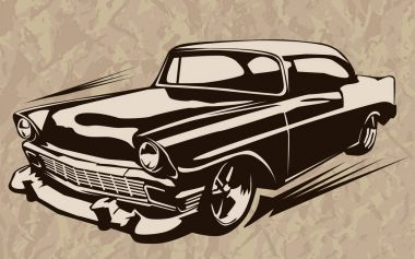 Muscle car abstract vintage sketch 1