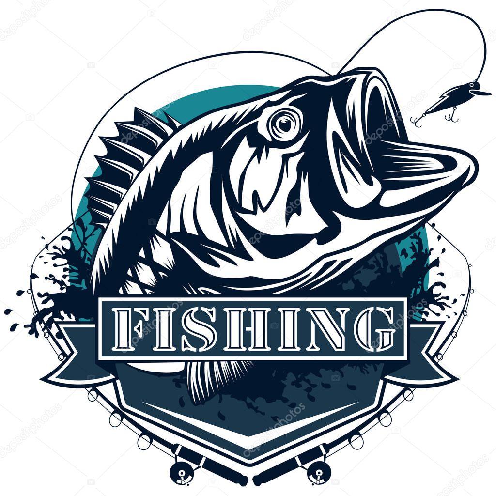 Perch Fish Deailed logo blue white