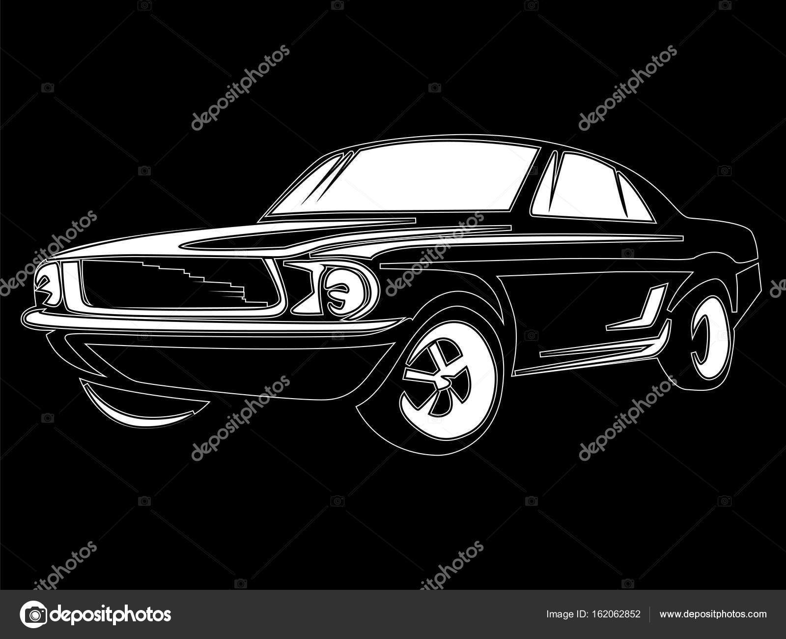 Muscle Car Isolated On Black Stock Vector C Lioriki 162062852