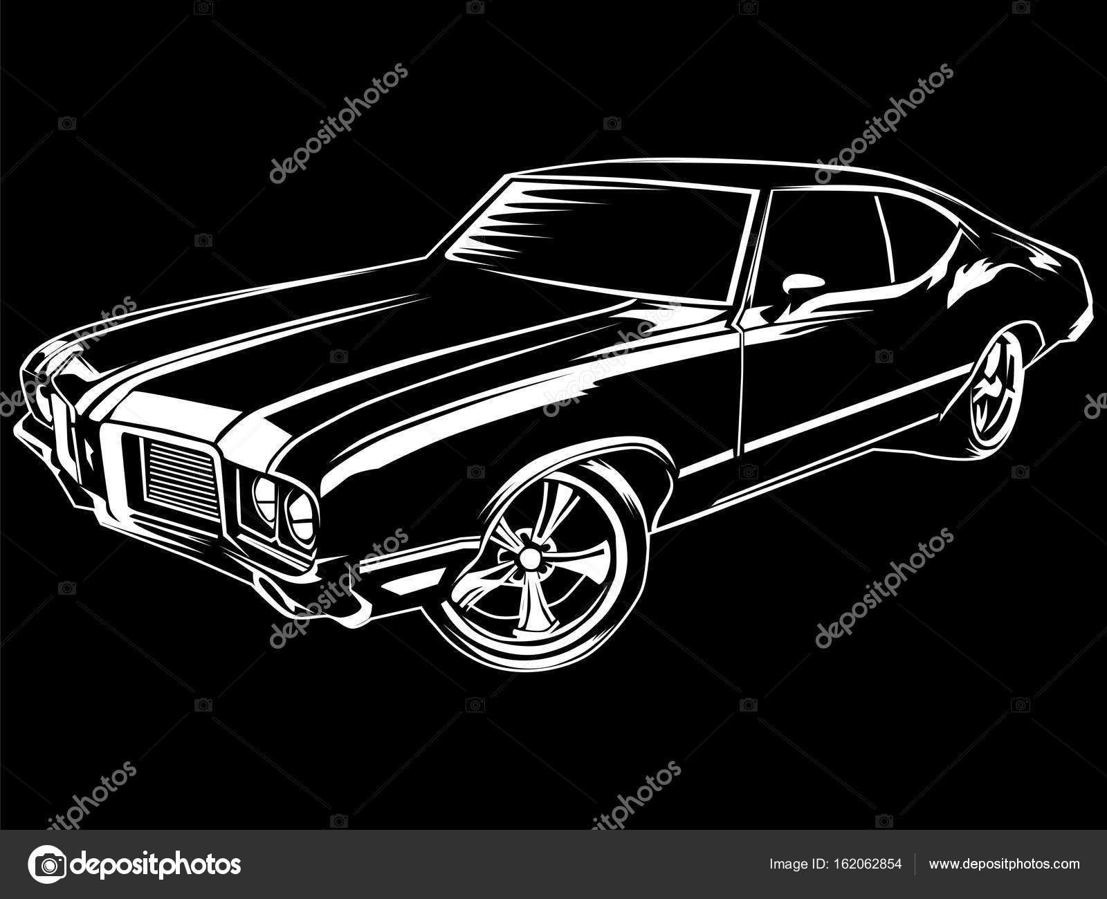 Muscle Car Modern On Black Stock Vector C Lioriki 162062854