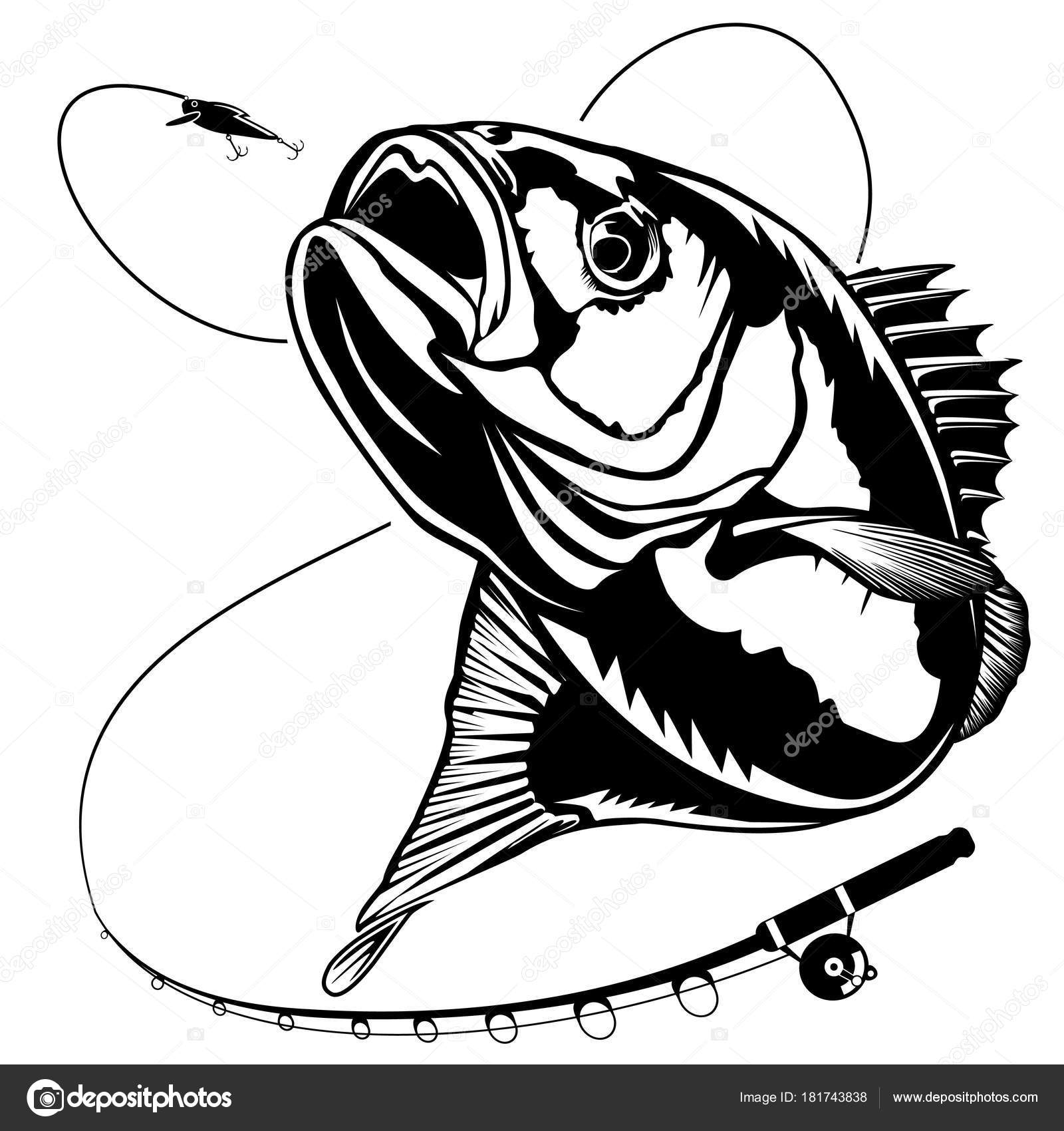new bass fishing with rod stock vector lioriki 181743838