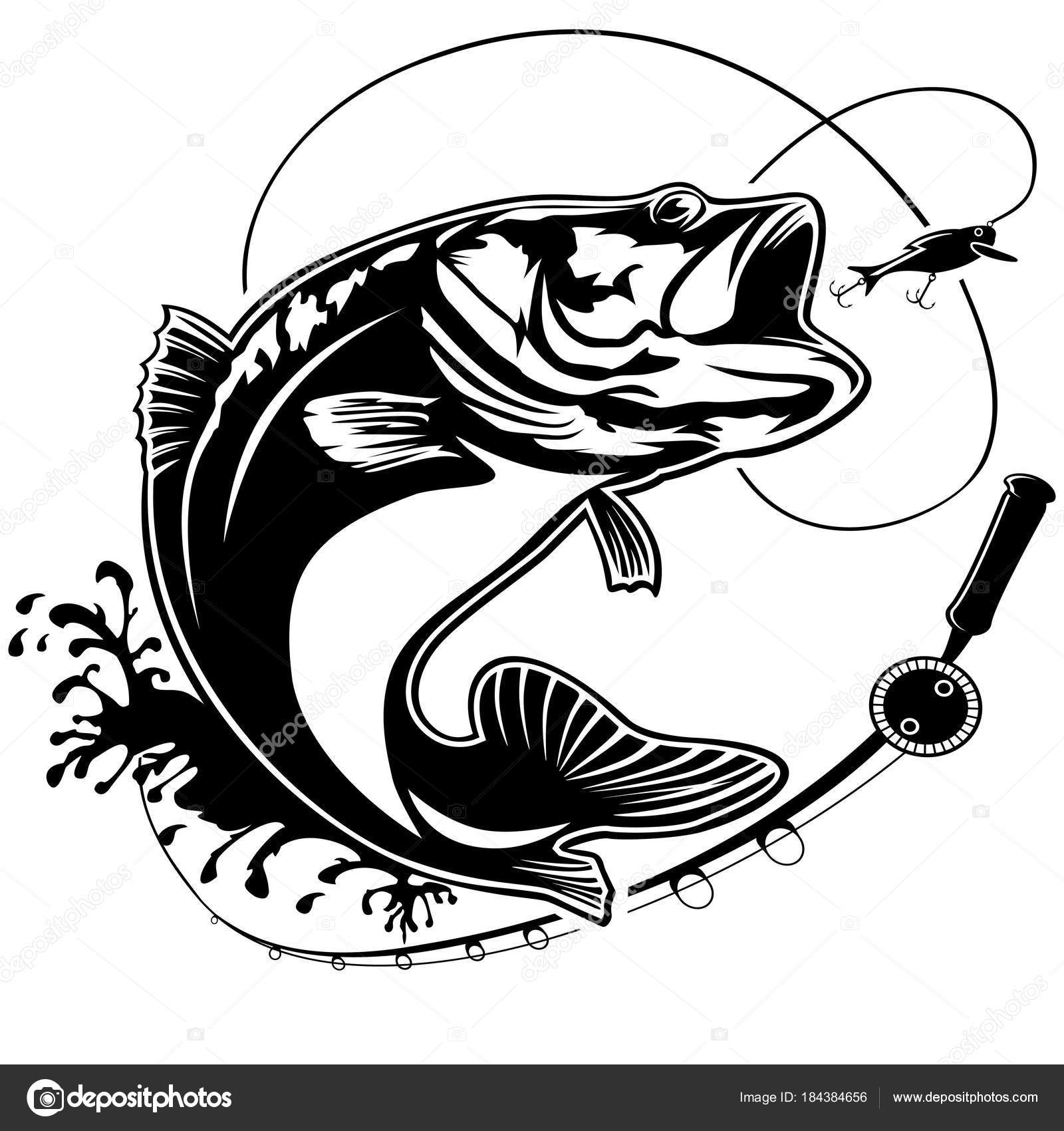 Fishing Logo Bass Fish Club Emblem Theme Vector Illustration Isolated On White By LIORIKI