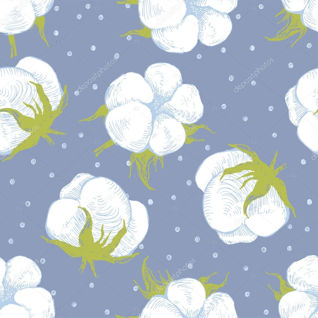 cotton plant seamless pattern