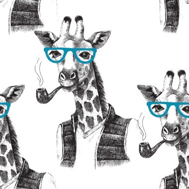 Seamless pattern with dressed up giraffe hipster