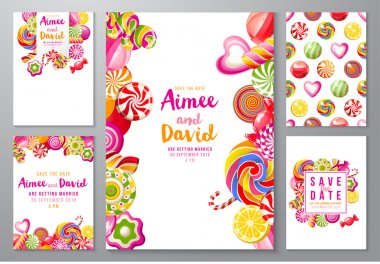 5 bright save the date backgrounds with candies clip art vector