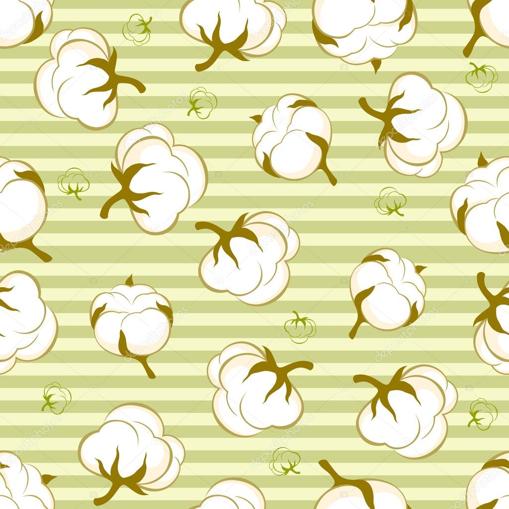 seamless pattern with cotton plant