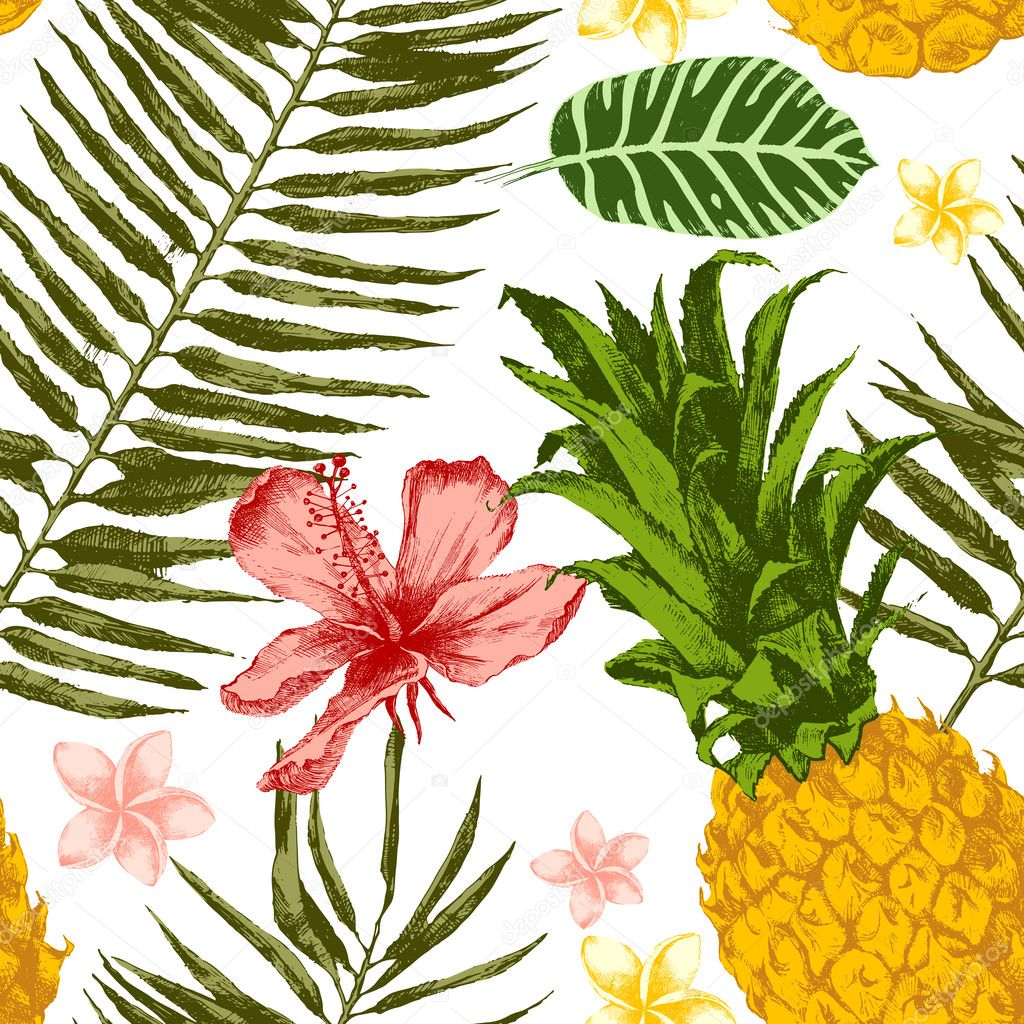 Hand drawn tropical seamless
