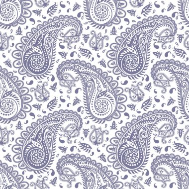 Highly detailed monochrome seamless paisley pattern stock vector