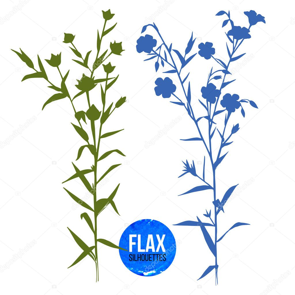 Hand drawn silhouettes of flax plant