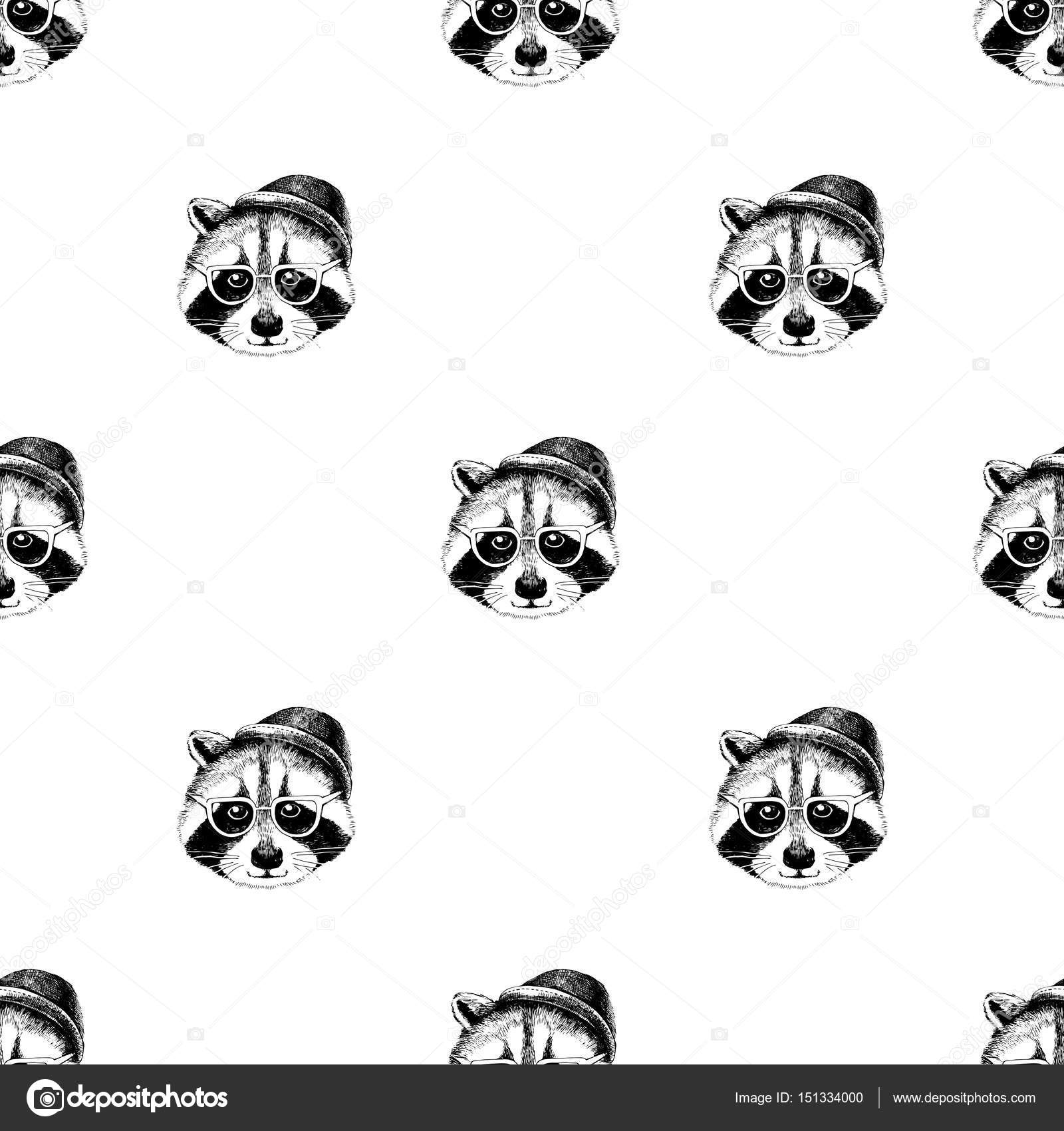 Patrón sin fisuras con hipsters de mapaches — Archivo Imágenes ...