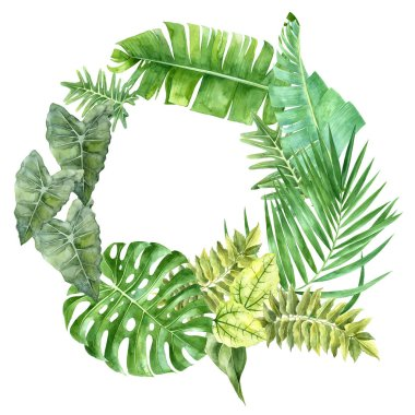 Tropical wreath design with watercolor leaves isolated on white background stock vector