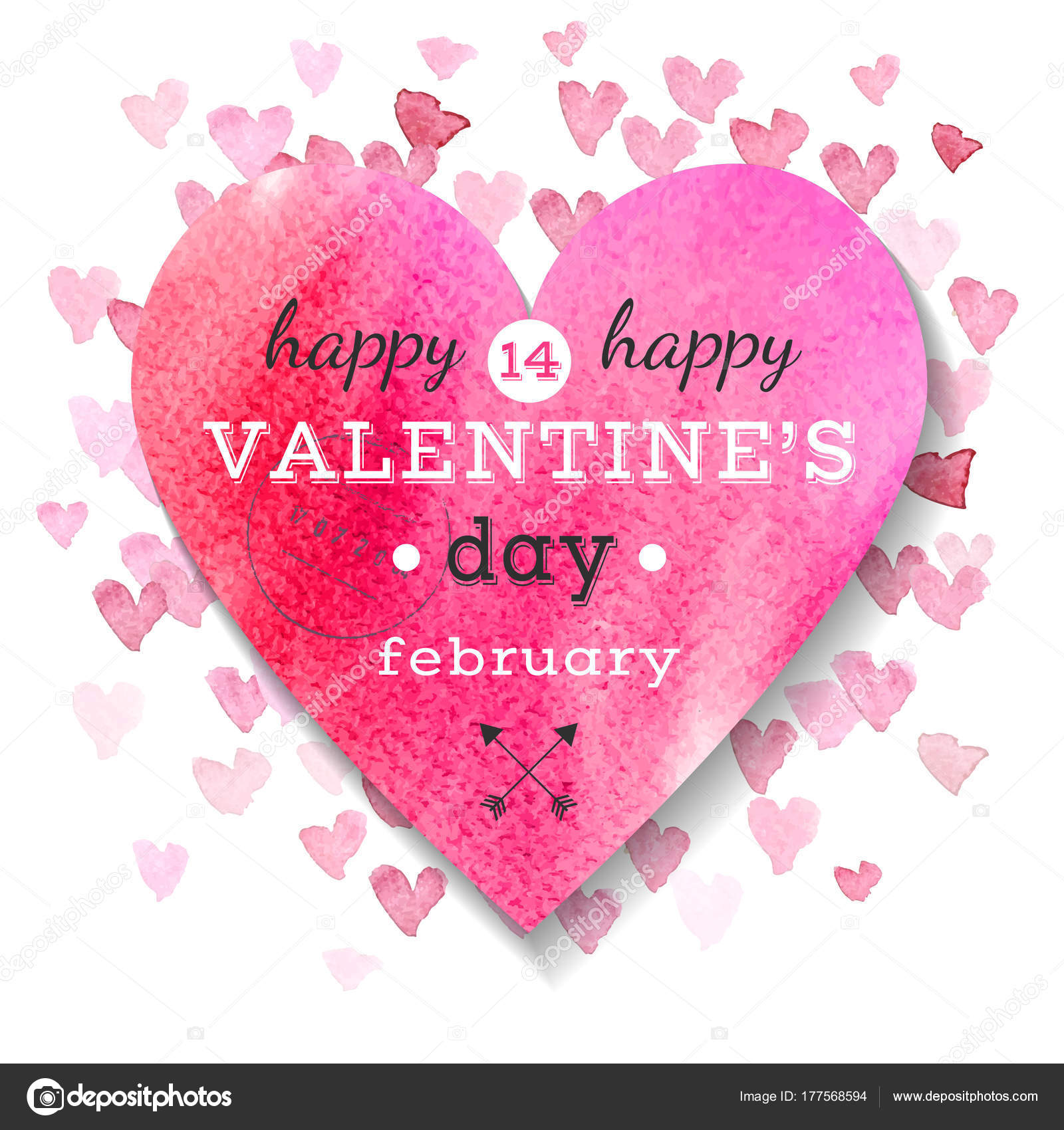 Happy Valentines Day Greeting Card Stock Vector Martm 177568594
