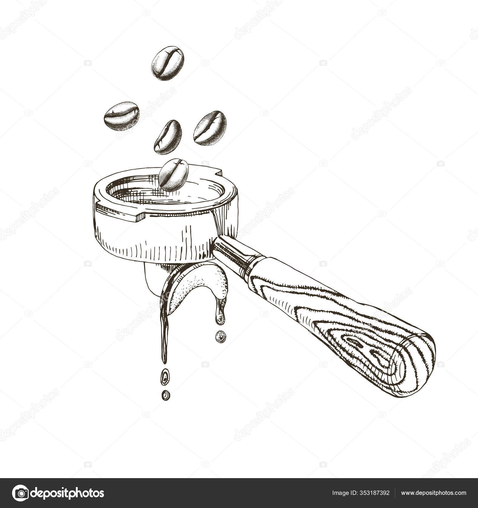 coffee beans fall into the portafilter stock vector c mart m 353187392 https depositphotos com 353187392 stock illustration coffee beans fall into the html
