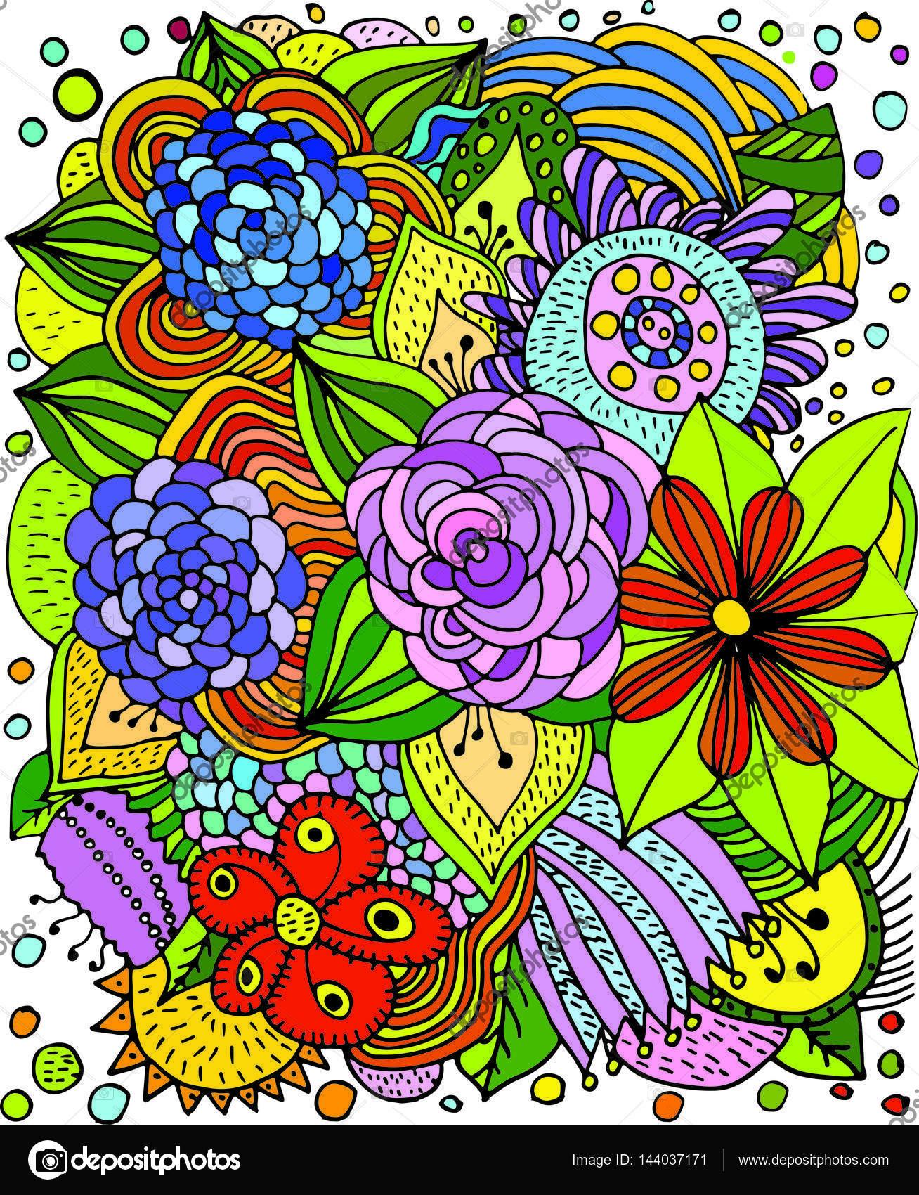 Tarjeta de vectores florales con flores luminosas en un marco ...