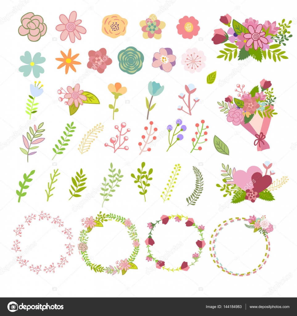 Set of flat icon flower icons in silhouette isolated on white cute set of flat icon flower icons in silhouette isolated on white cute retro design in bright colors for stickers labels tags gift wrapping paper mightylinksfo