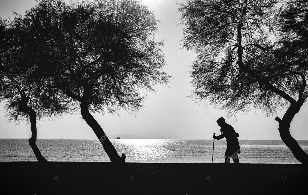 People and Trees. Elderly woman walking on a cane
