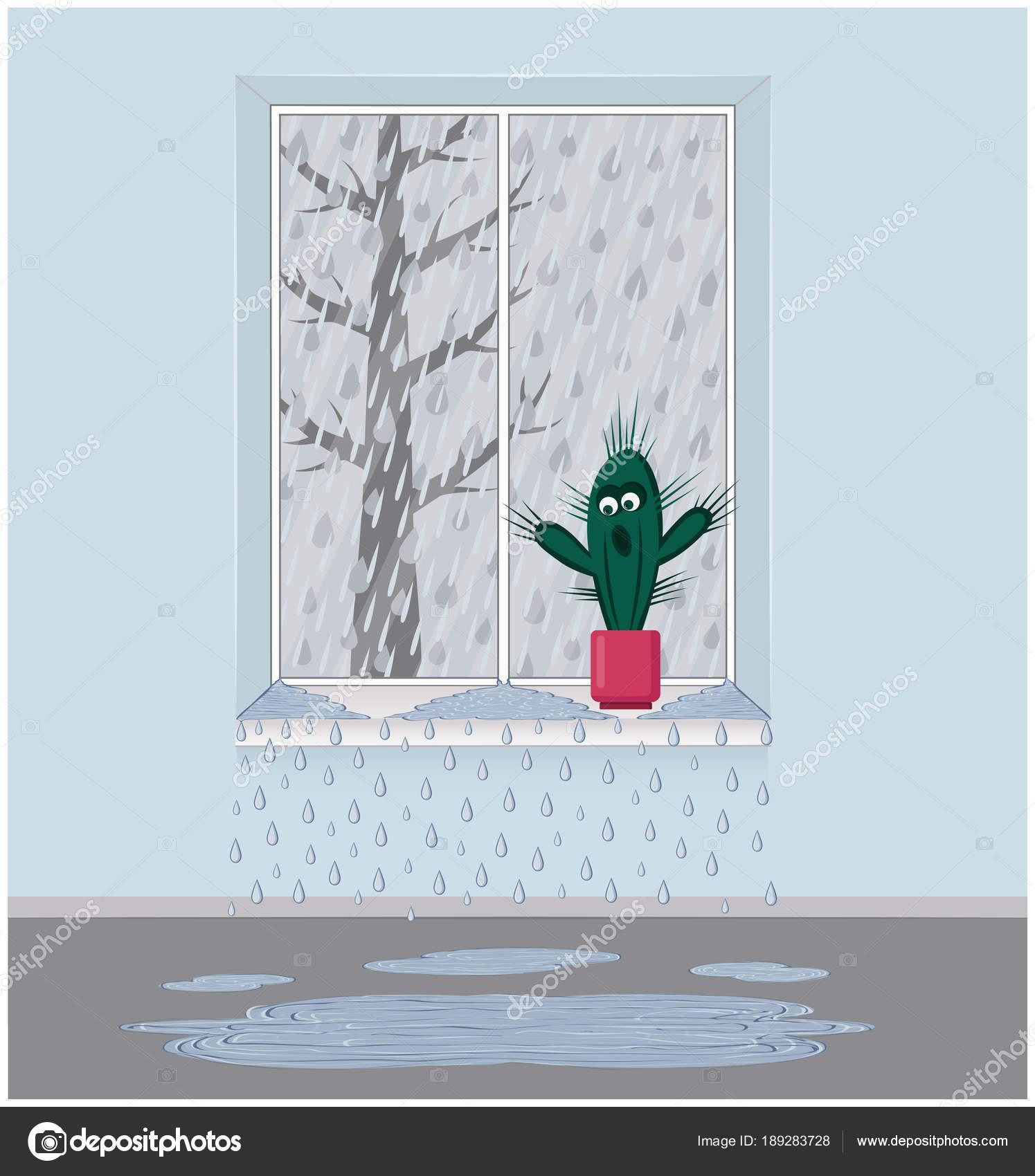 Regen Sie draußen vor dem Fenster. Der Rahmen ist undicht. Die ...