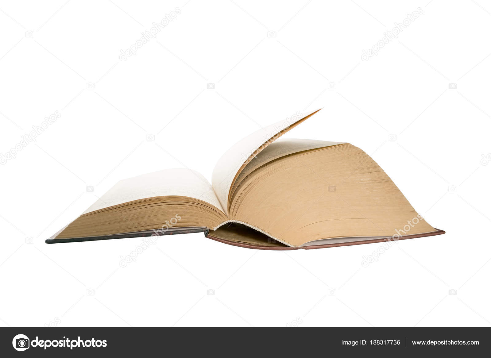 opened thick book pages isolated on white background love read