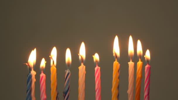 Burning birthday candles.