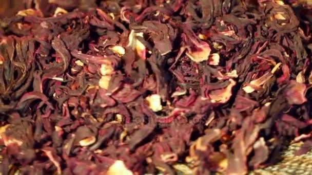 Ibišky červené suché čaj closeup