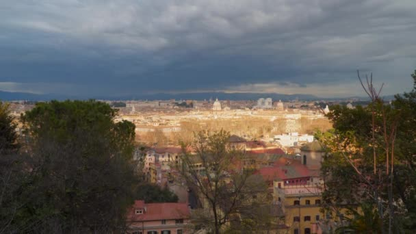 Panorama of the old part of Rome. Visible mountains and cloudy sky