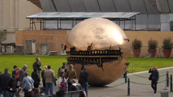 Rome, Italy - March 21, 2018: Sculpture Sphere in the sphere. Courtyard of the Vatican Museum